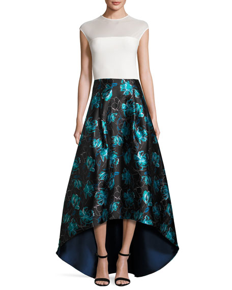 Floral Jacquard High-Low Ball Skirt, Blue Topaz
