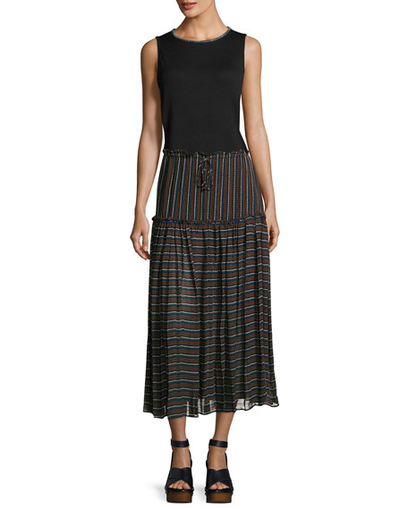 Dulce Accordion Midi Skirt, Techno Stripe