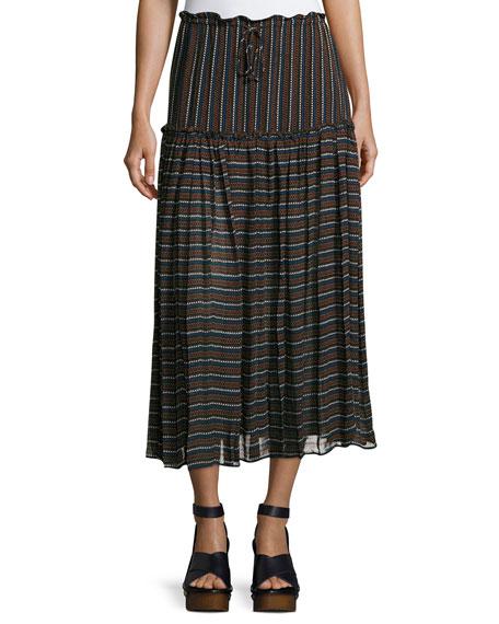 Apiece Apart Dulce Accordion Midi Skirt, Techno Stripe