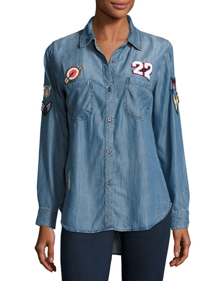 Rails Carter Chambray Shirt w/Patches, Dark Vintage