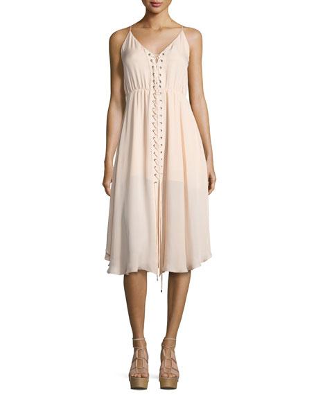 Haute Hippie Sleeveless Laced Silk Dress, Ballet