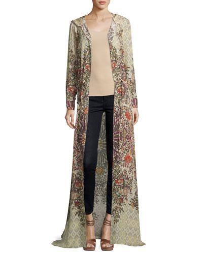 Sandstorm Hooded Floral Silk Cloak, Talitha