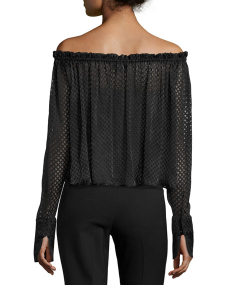 Brooke Off-the-Shoulder Geometric Lace Top