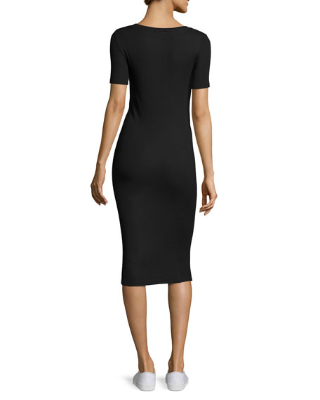 Short-Sleeve Stretch Jersey Henley Midi Dress, Black