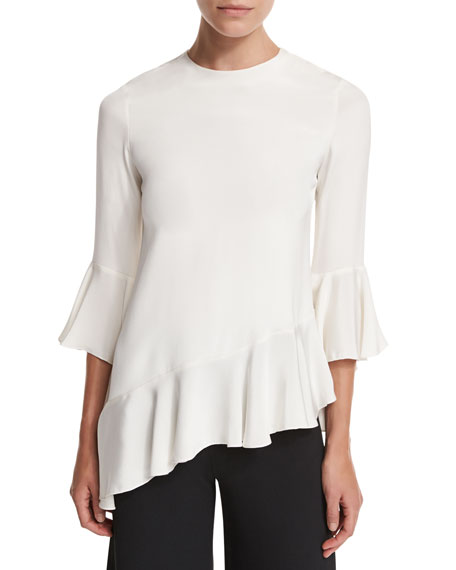 Alexis Silk Bell-Sleeve Ruffle Top, Stone White
