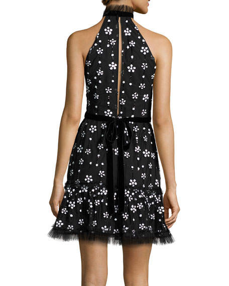 Alexis Poppy Sequined Cocktail Dress Black