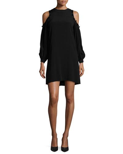 Claudette Crepe Button-Trim Cold-Shoulder Dress