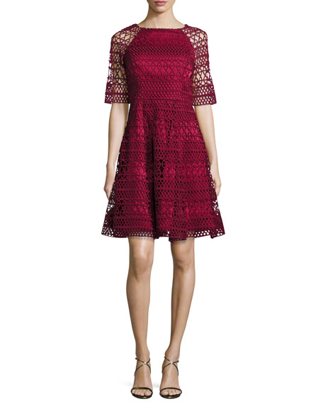 Half-Sleeve Lace Fit-and-Flare Cocktail Dress, Flame