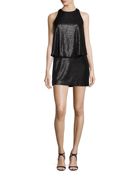 Sleeveless Sequined Mini Dress, Black