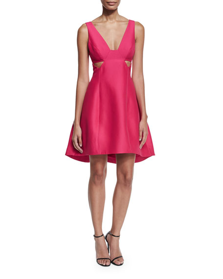 Halston Heritage Sleeveless Cutout Faille Cocktail Dress, Cerise