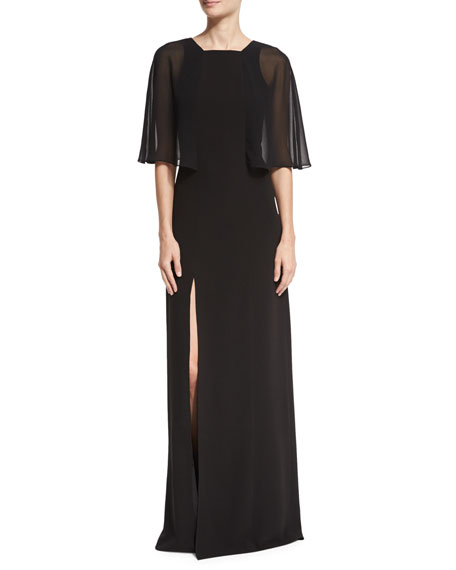 Halston Heritage Cape-Sleeve Stretch Crepe Gown, Black