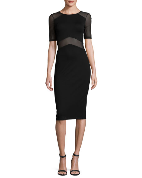 French Connection Arrow Mesh-Inset Sheath Dress, Black