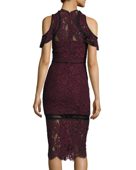 Evie Cold-Shoulder Lace Sheath Dress