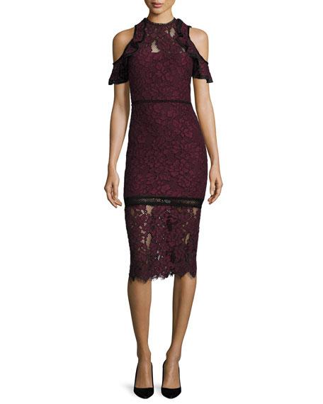 Alexis Evie Cold-Shoulder Lace Sheath Dress