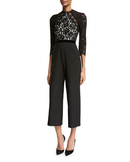 Alexis Ophelia Lace 3/4-Sleeve Jumpsuit, Black/White