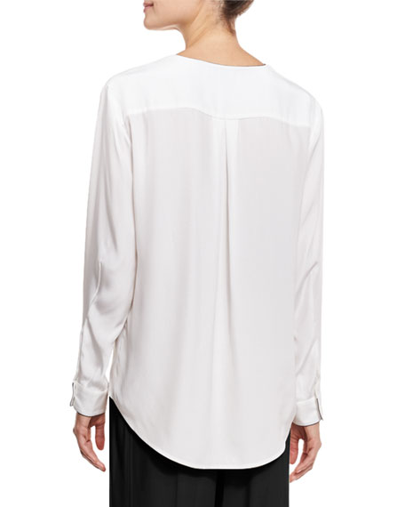Long-Sleeve Silk Blouse, White/Black