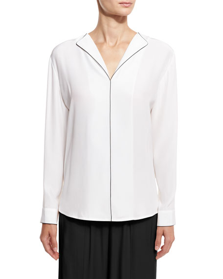 ATM Anthony Thomas Melillo Long-Sleeve Silk Blouse, White/Black