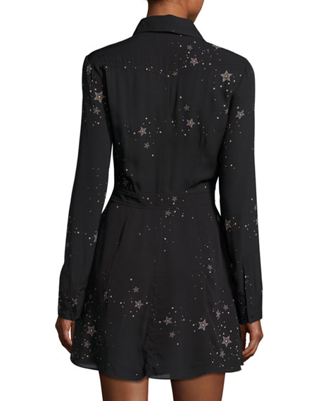 Pedro Long-Sleeve Silk Star Shirtdress, Black