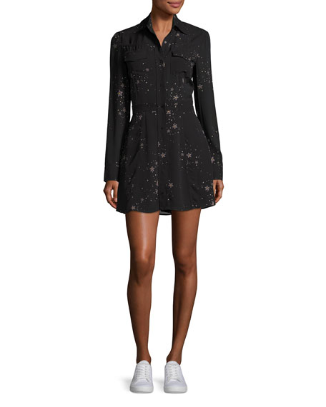 A.L.C. Pedro Long-Sleeve Silk Star Shirtdress, Black