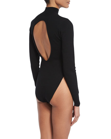 Tota Open-Back Bodysuit, Black