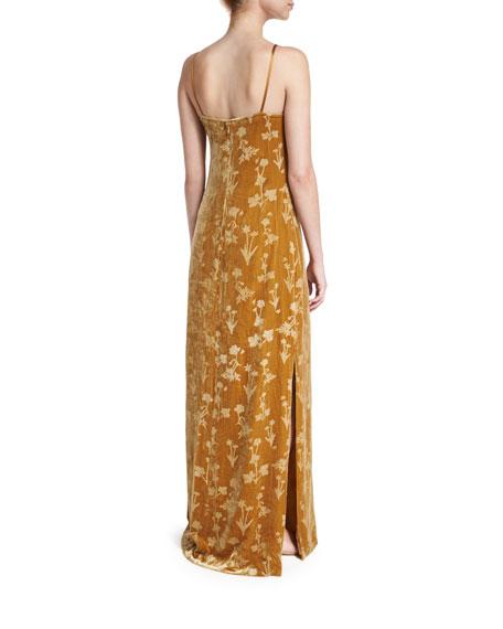 Valerie Floral Velour Maxi Dress, Brass Glitter