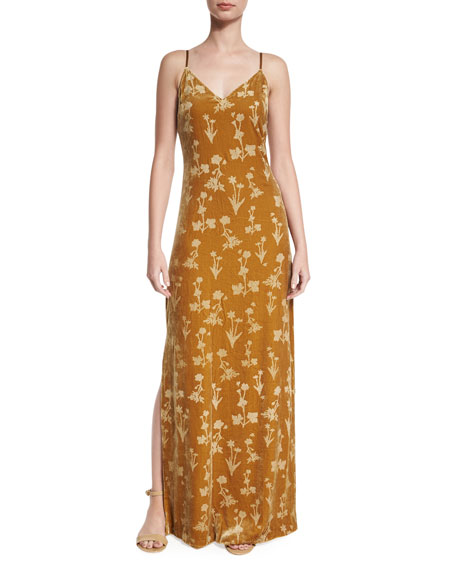 Elizabeth and James Valerie Floral Velour Maxi Dress,
