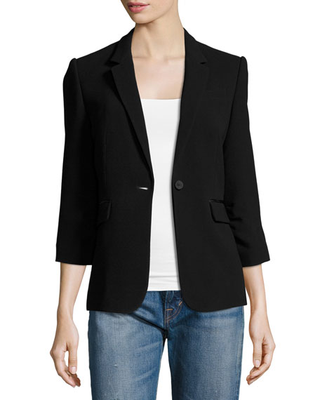 James Fitted Crepe Blazer, Black