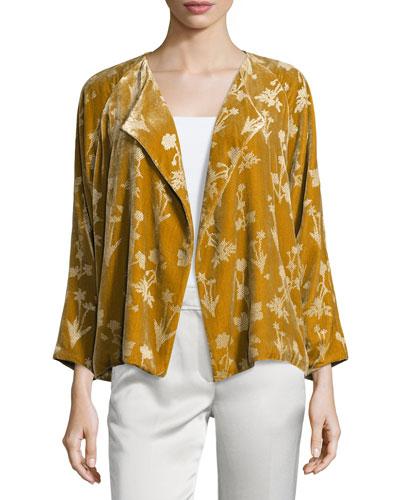 Audrey Floral Velour Open-Front Jacket, Bronze Reviews