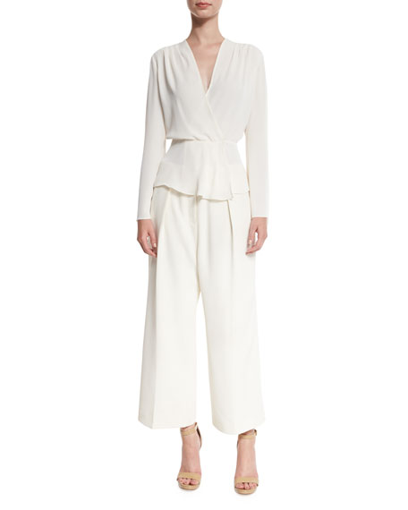 Billie Pleated Crepe Culottes, Ivory
