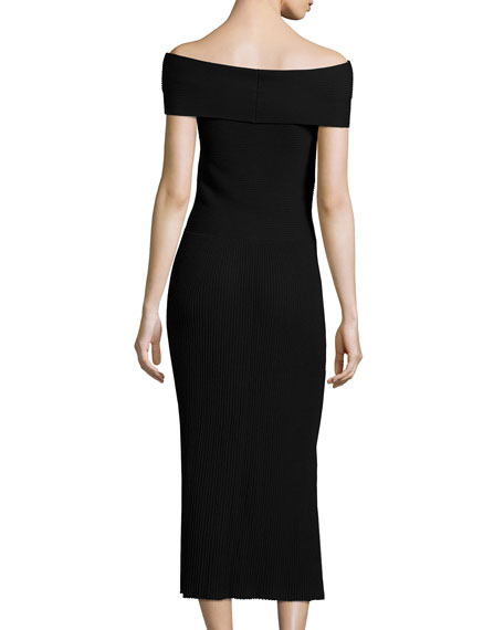 Marbella Off-the-Shoulder Ribbed Midi Dress, Black