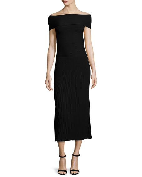 Elizabeth and James Marbella Off-the-Shoulder Ribbed Midi Dress,