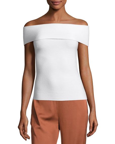 Dominique Off-the-Shoulder Ribbed Top, Ivory