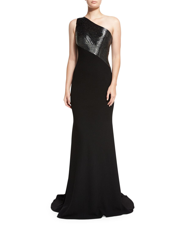 Carmen Marc Valvo One-Shoulder Beaded Crepe Gown, Pewter/Black ...