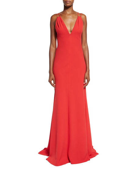 Carmen Marc Valvo Sleeveless Double-Strap Jersey Gown, Red