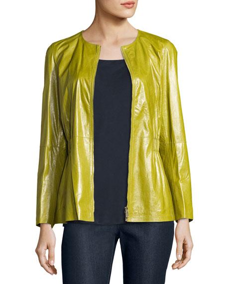 Lucina Zip-Front Lambskin Peplum Jacket, Chicory