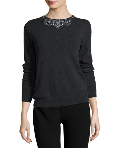 Crystal-Embellished Cashmere Crewneck Sweater, Charcoal