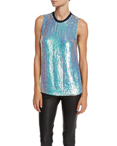 Sleeveless Iridescent Sequined Silk Shell, Blue