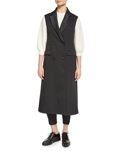 Long Wool Double-Breasted Tuxedo Vest, Black