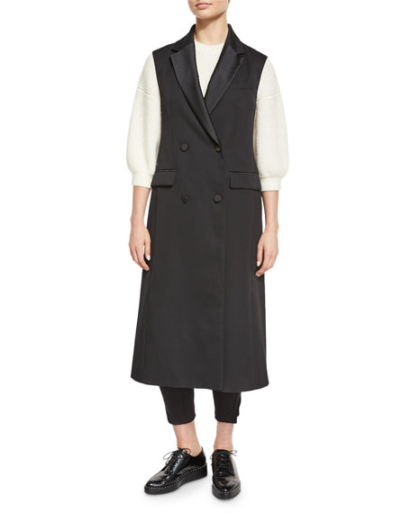 Long Wool Double-Breasted Tuxedo Vest, Black Top Reviews