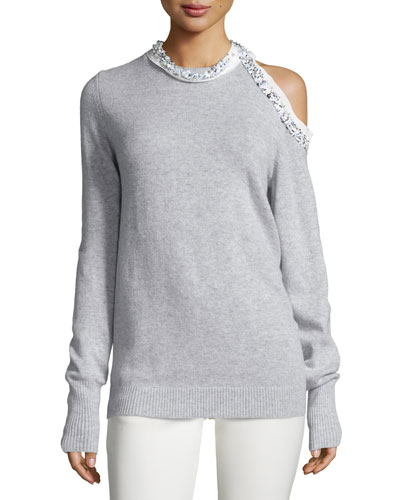 Embellished Cold-Shoulder Pullover Sweater, Foggy