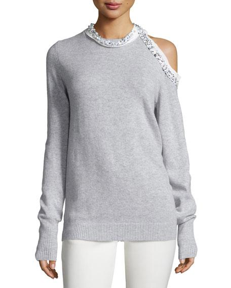 Embellished Cold-Shoulder Pullover Sweater, Foggy