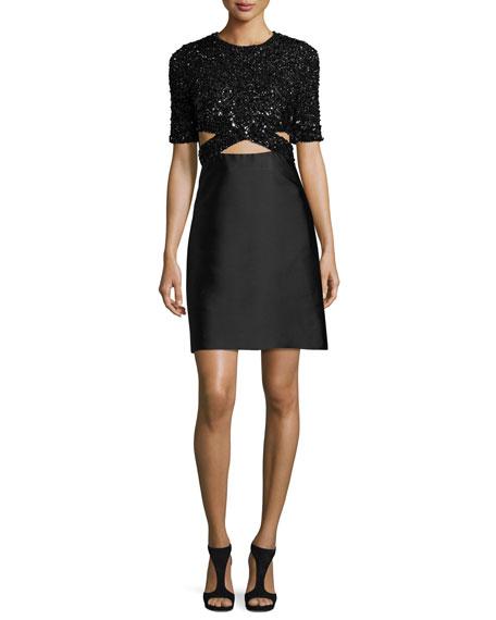3.1 Phillip Lim Short-Sleeve Embellished A-Line Dress, Black