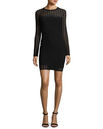 Long-Sleeve Jacquard Eyelet Mini Dress, Black
