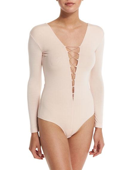 Long-Sleeve Laced Bodysuit, Blush