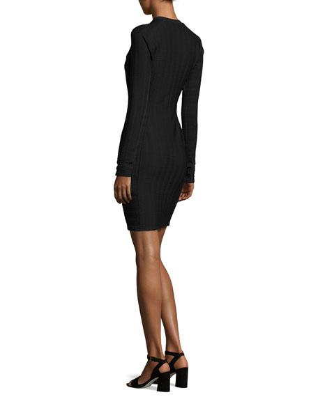 Ada Long-Sleeve Textured Stretch Mini Dress, Black