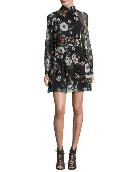 Vintage Floral High-Neck Mini Dress