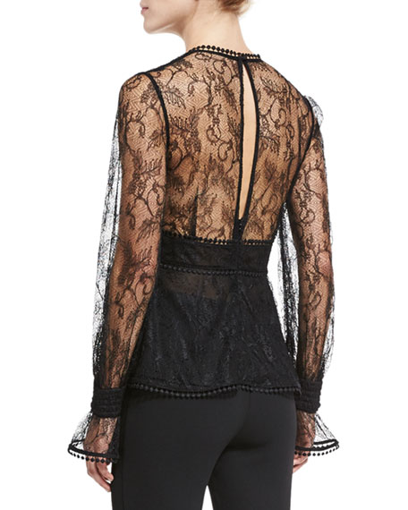 French Lace Plunging V Top, Black