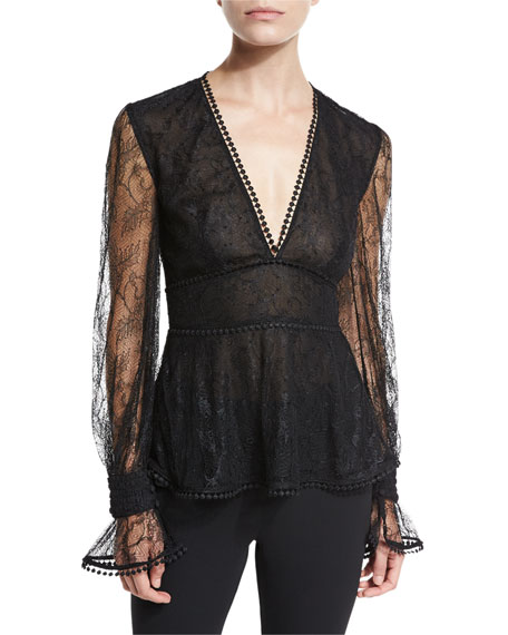 NICHOLAS French Lace Plunging V Top, Black