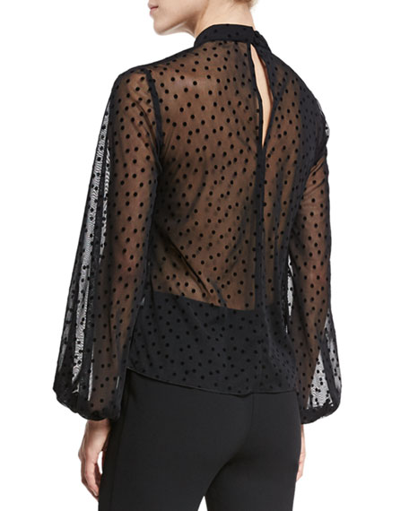 Velvet-Dot Tuck-Front Mesh Top, Black