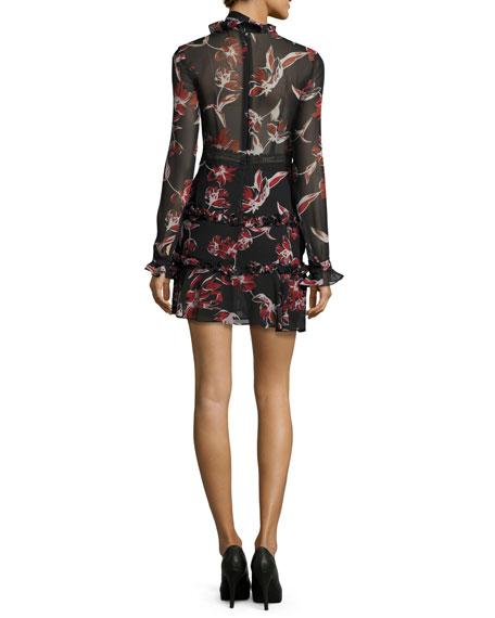French Floral Ruffle-Trim Mini Dress